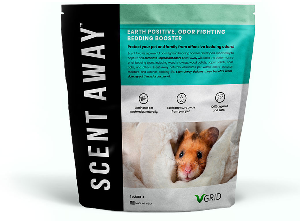 Scent Away™ - 3 Qt bag - Protects your pet and family from offensive pet bedding odors! Scent Away™ is a powerful, odor fighting pet bedding booster developed specifically to capture and eliminate unpleasant odors.